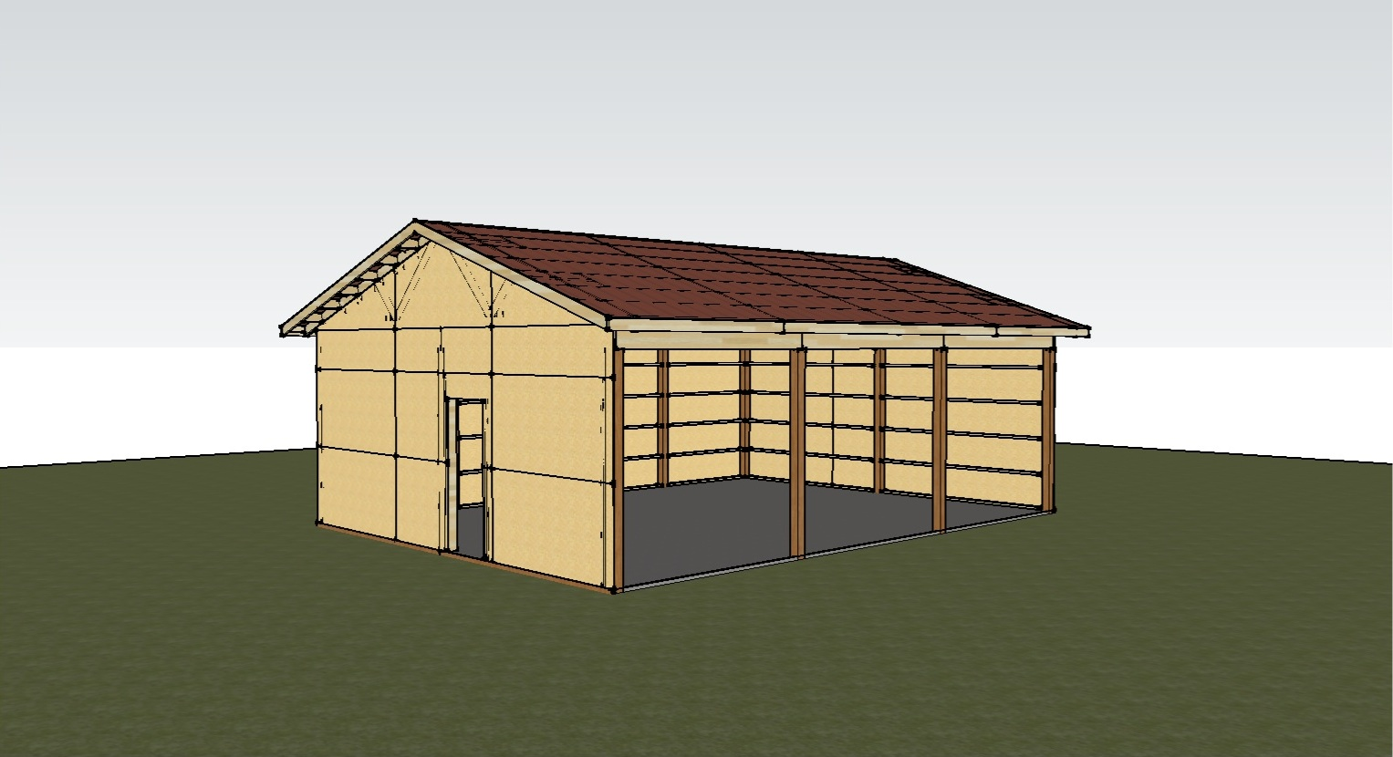 Pole barn plan joy studio design gallery best design for Shed house layout